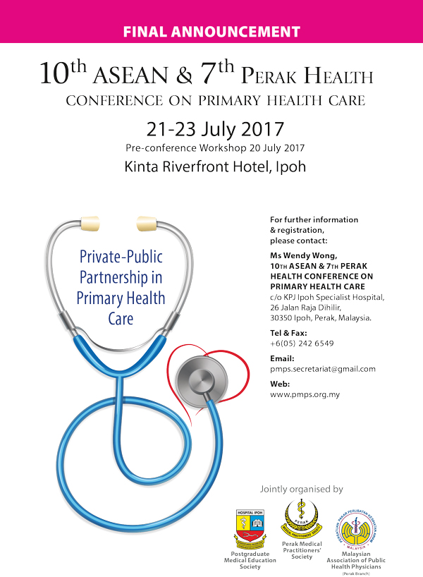 10th ASEAN Conference on Primary Health Care -- Final Announcement
