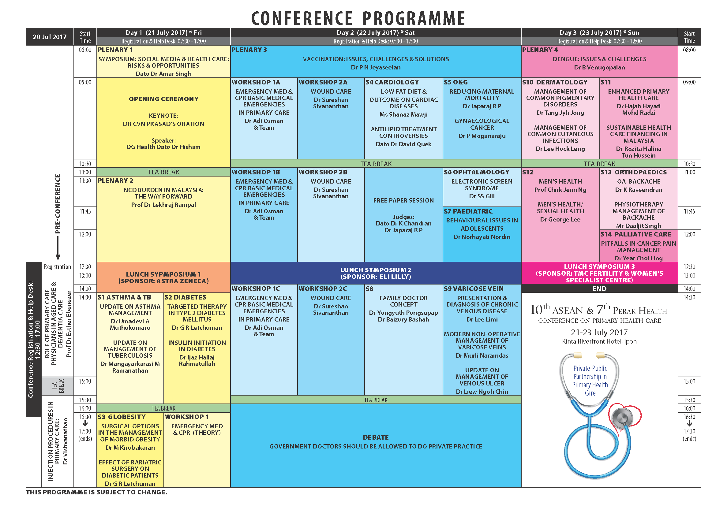 10th ASEAN & 7th Perak Health Conference: Programme