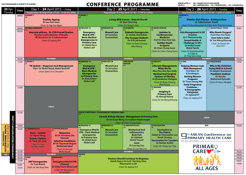 9th ASEAN Conference on Primary Health Care, 24-26 April 2015, Tentative Programme